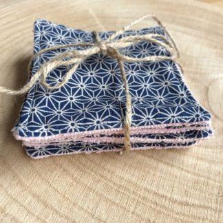 Lot de 5 lingettes lavables toutes douces en éponge de bambou motif origami beige et bleu foncé