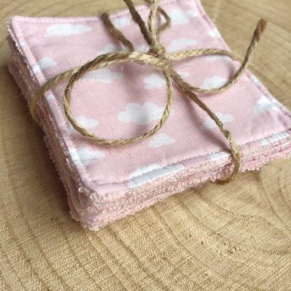 Lot de 5 lingettes lavables toutes douces en éponge de bambou motif nuages blancs et rose clair