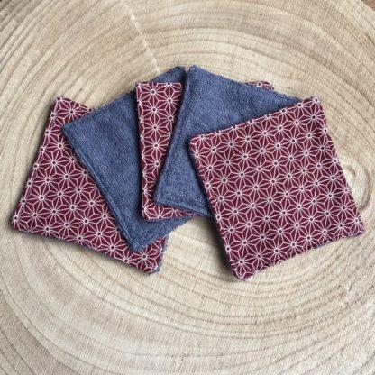 Lot de 5 lingettes lavables toutes douces en éponge de bambou motif origami beige et rouge bordeaux