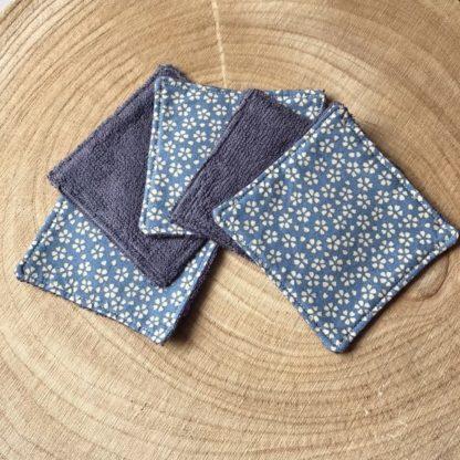 Lot de 5 lingettes lavables toutes douces en éponge de bambou motif floral beige et bleu ardoise