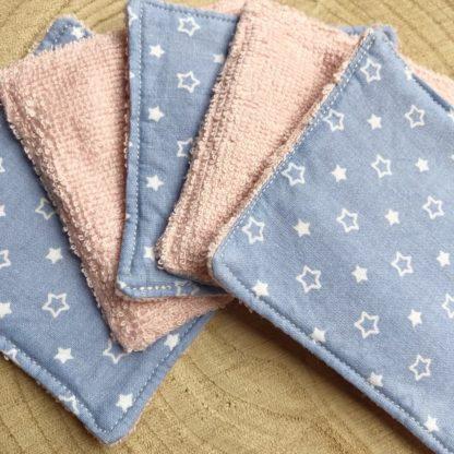 Lot de 5 lingettes lavables toutes douces en éponge de bambou étoiles blanches et bleu ciel